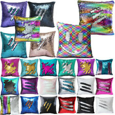 Reversible Sequin Mermaid Pillow Cover Glitter Sofa Cushion Case Double Color