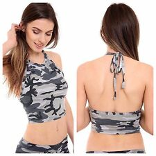 WOMENS LADIES SLEEVELESS CASUAL CAMOUFLAGE PRINT HALTER NECK CROP TOP GIRLS VEST