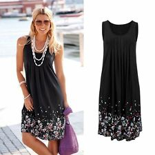 Black Floral Summer Womens Mini Dress Sleeveless Party Evening Cocktail Dress