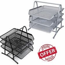 Silver Black 3-Tier Mesh Home Office Organiser Tray Holder A4 Document Paper NEW