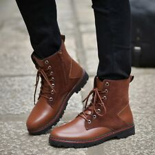 Men's Punk  Martin Boots High top Leather Shoes Warm Lace Up Short Boots Retro
