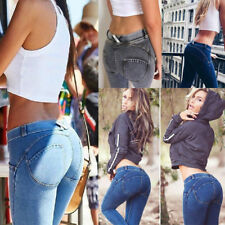 Sexy Women Sports Elastic Jeans Pencil Pants Tight Slim Hip Movement Trousers