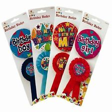 Birthday Party Badge and Rosette Pack Accessory Decoration Award Ribbon Girl Boy