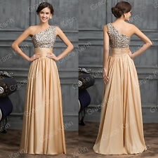 Stock Beaded Long Bridesmaid Prom Evening Dress Cocktail Party Formal Gown Ball#