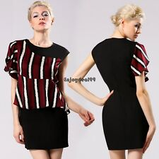 Lady Women's Casual Sexy New Fashion Short Flouncing Sleeve O-neck OO55
