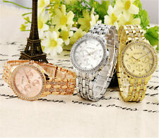Luxury Womens Girls Crystal Stainless Steel Quartz Analog Wrist Watch