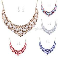 Women Delicate Jewelry Set Crystal Choker Chunky Statement Necklace Earrings Set
