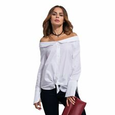 Womens Sexy Off Shoulder Long Sleeve T Shirt Casual Loose Solid Crop Tops Blouse