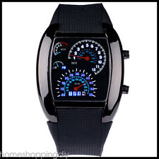 US Men Chic RPM Turbo Blue LED Flash Sports Car Meter Dial Sport Wrist Watch New