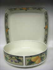 2 MIKASA Serving Dishes Garden Harvest Oven to table Dishwasher Round & Square