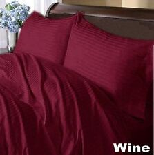 1000  Count 100%Egyptian Cotton Wine Stripe Extra Deep Pocket Fitted/Sheet Set