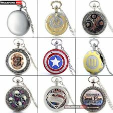 Antique Silver Case Steampunk Mens Pocket Watch Classic Quartz Necklace Pendant