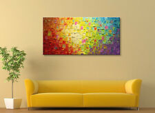 Handcraft Abstract Colorful Texture Oil Painting on Canvas Wall Art Decor Framed