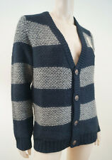 SCOTCH SHRUNK Boy's Navy & Grey Chunky Knitted V Neck Cardigan Top BNWT