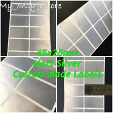 Large 45x25mm Matt Silver Custom Made Stickers/Labels, Address Return Waterproof