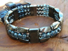 Men's Woman's Powerful Magnetic Ink Blue Hematite Bracelet Anklet 3 row