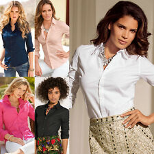 Trendy Ladies Summer Shirt Slim Fit Long Sleeve Button Down Top Blouse For Women