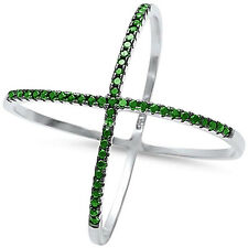 925 Sterling Silver Criss Cross Infinity Simulated Green Emerald X Ring