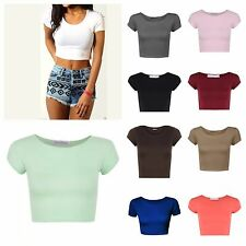 WOMENS ROUND NECK SHORT SLEEVE CROP TOP T SHIRT TOPS LADIES CROP TOP GIRLS VEST