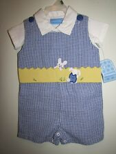 New Boy's 2 Pc Blue & White Gingham EASTER BUNNY Shortall Outfit, Sz 3-6 Months