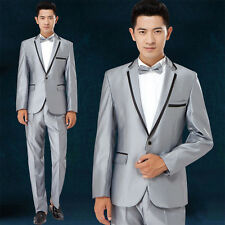 Korean Mens One Button Slim Costumes Wedding Bridegroom Coat Pant Blazer Suits