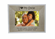 I heart-love My Uncle 7 x 5 Photo Frame White Edge Wood Frame - free engraving