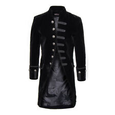 Mens Pentagramme Black Velvet Military Style Long Length Formal Tailored Coat