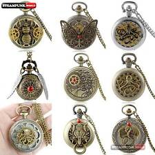 Antique Steampunk Bronze Pattern Pocket Watch Quartz Pendant Necklace Chain Gift