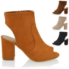 WOMENS MID HEEL BLOCK PEEP TOE OPEN BACK LADIES CUT OUT ZIP ANKLE SHOE BOOTS 3-8