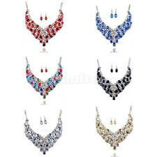 Crystal Rhinestone Women Bridal Chunky Choker Statement Necklace Earrings Set