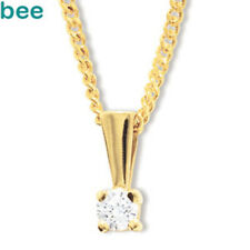 0.25ct Claw Diamond 9k 9ct Solid Yellow Solid Gold Solitaire Pendant w/ Chain
