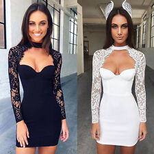 Sexy Women's Fashion Long Sleeve Cocktail Party Clubwear Lace Lady Mini Dress H