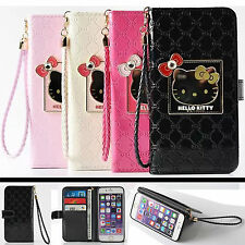 Leather Flip Wallet Card Case Cover For Apple iPhone 6 6S 6 Plus - Hello Kitty