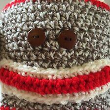 Sock Monkey Hat Crochet Beanie Handmade Adult NEW Halloween photo op