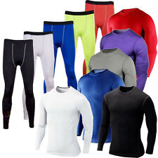 Mens Sports Compression Tights Base Layer Under Long Pants Athleisure Tee Shirts