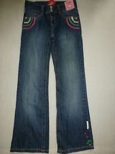 Gymboree MERRY & BRIGHT Blue Rainbow Embroidered Boot Cut Denim Jean Pants NWT