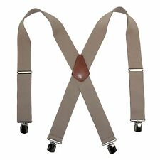 New CTM Men's Terry Casual Elastic with Anti Slip Pin Clip 2 Inch Suspenders