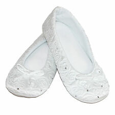 New Isotoner Women's Terry Lined Rose Quilted Ballerina Slippers
