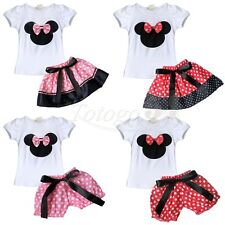 2Pcs Baby Girl Minnie MouseTop Shirt Dress Pants  Birthday Bowknot Outfit Set