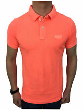 Superdry Mens Small Vintage Destroyed S/S Pique Polo Shirt in Fluro Coral