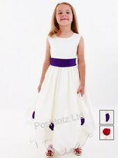 Girls Cream & Purple Roses Occasion Dress Wedding Party Christening (2-3-9-10yr)