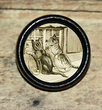 Beatrix Potter TABBY CAT play HOOP & STICK Art Tie Tack or Ring or Brooch pin