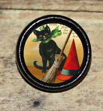 Halloween BLACK CAT Witch hat broom Art Tie Tack or Ring or Brooch pin