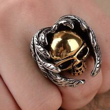 Retro Stainless Steel Gothic Golden Steampunk Skull Head Wings Ring Jewelry Mens