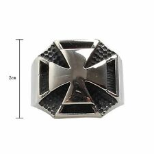 Vintage Silver Polishing Gothic Cross Steel Titanium Ring Steampunk Jewelry Mens