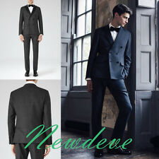 Dark Gray Slim-Fit Groom Tuxedos Groomsmen Lapel  Formal Suits Double Breasted
