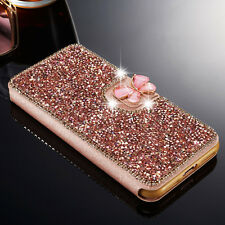 Luxury Crystal Bling Diamond Flip Leather Case Wallet Cover For iPhone Samsung B