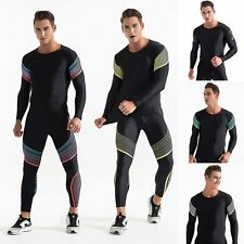 Athletic Men's Compression Jogging Suit Stripe Bodybuilding Top Running T-shirts