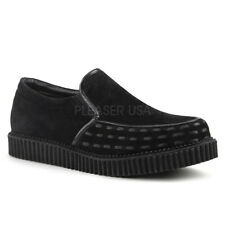 Demonia V-CREEPER-607 Men Black Vegan Suede Platform Creeper Loafers Casual Shoe