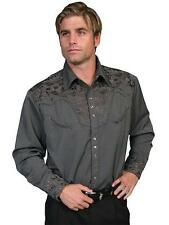 Scully Western Mens Shirt Long Sleeve Snap Embroidered Charcoal